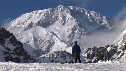 Climber looking up at his goal, Denali Stock Video Footage