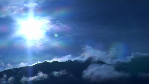 Mountain in the clouds under blue light Footage