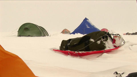 Camp in a blowing snow Stock Video Footage