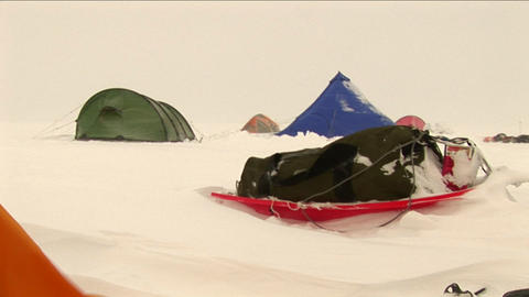Camp in a blowing snow Footage