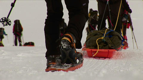 Close-up of sleds and snowshoes Stock Video Footage