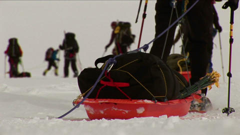 Close-up of sleds and snowshoes Footage