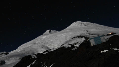 Big dipper constellation above elbrus Stock Video Footage