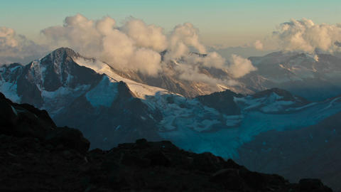 Sun and cloud moving over Caucasus Mountains Footage