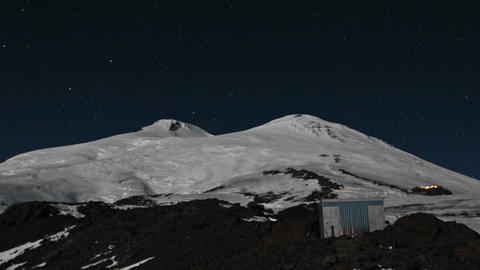 View of upper mountain including final camp light up Footage