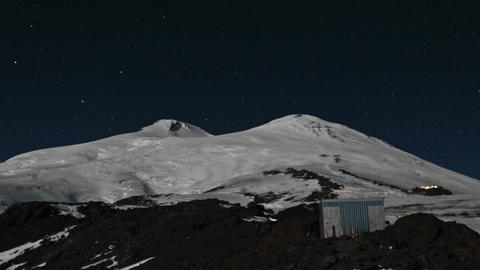 View of upper mountain including final camp light up Stock Video Footage