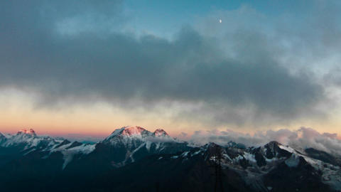 View of the Caucasus range as the sun sets upon them Stock Video Footage