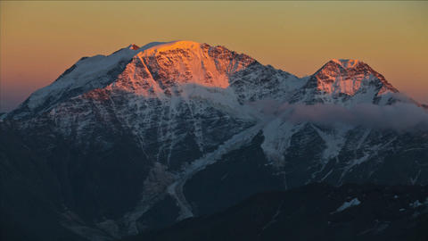 Sunsets on Caucasus Peak Stock Video Footage