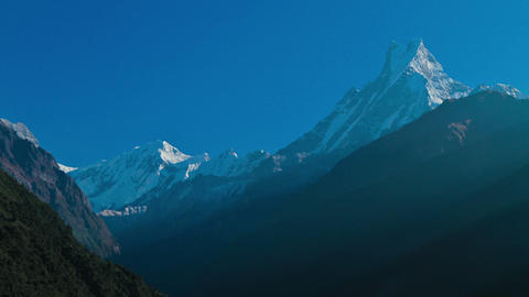 Fishtail mountain bathed in light Stock Video Footage