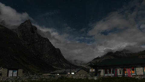 Pheriche village at night with starry sky Footage