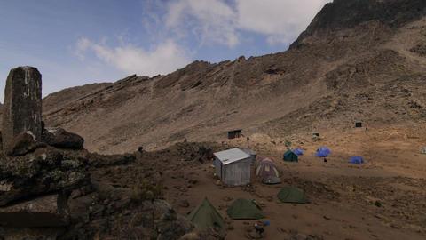 Lake side camp Kilimanjaro trek Stock Video Footage