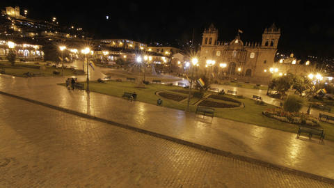 Plaza de armas at night in Cusco Footage