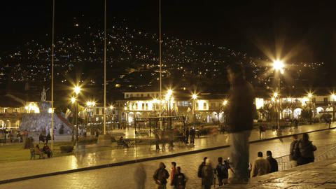 Plaza de armas with people and cars passing Stock Video Footage