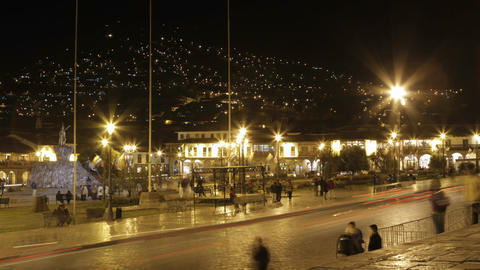 Plaza de armas with people and cars passing Footage