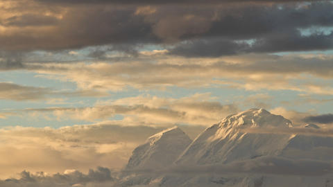 Huescaran as sun sets on its peak Stock Video Footage