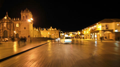 Driving around Cusco, Peru at night Footage