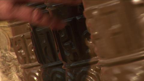 Prayer wheels being spun Stock Video Footage