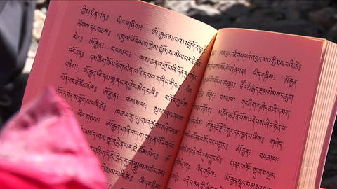 Chanting to open prayer book Stock Video Footage