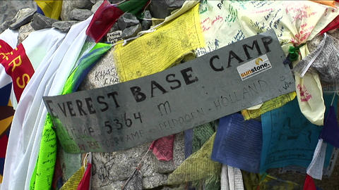Sign to Everest basecamp Footage