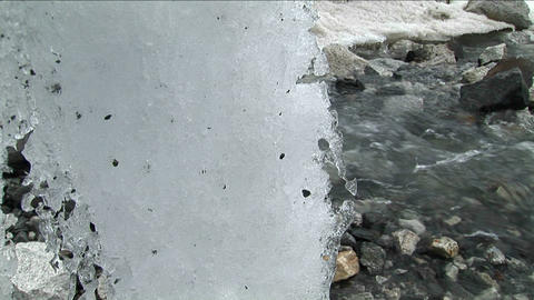 Pan past ice formations to reveal peak Stock Video Footage