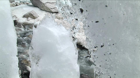 Pan past ice formations to reveal peak Footage