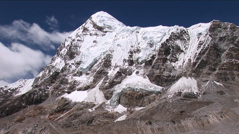 Pumori tilt down to base camp, birds fly by Stock Video Footage