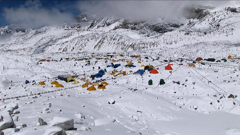 Zoom in on Everest basecamp Stock Video Footage