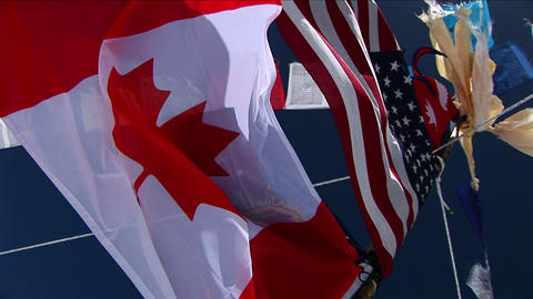 Flag pole at basecamp Stock Video Footage