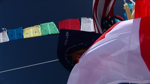 Flag pole at basecamp Footage