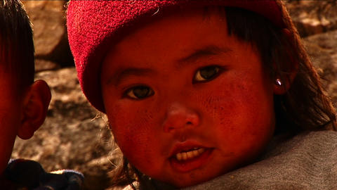 Little Nepalese girl Stock Video Footage