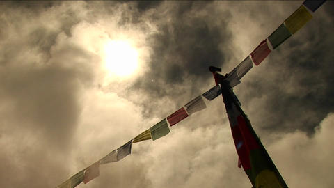 Bird standing atop prayer flags Stock Video Footage