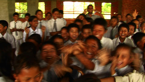 Cheering Nepalese school children Footage