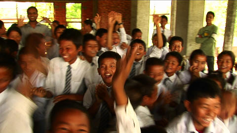 Cheering Nepalese school children Stock Video Footage