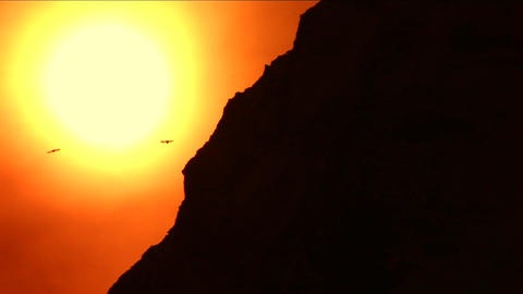 Ridge of mountain silhouetted as bird flies by Stock Video Footage