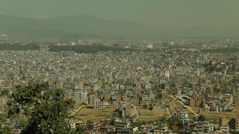 Static shot of Kathmandu from hilltop Footage