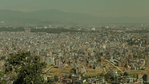 Static shot of Kathmandu from hilltop Stock Video Footage