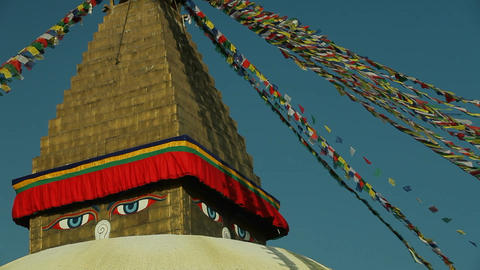 Boudhanath stupa in Kathmandu, Nepal Stock Video Footage