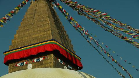 Boudhanath stupa in Kathmandu, Nepal Stock Video Footage
