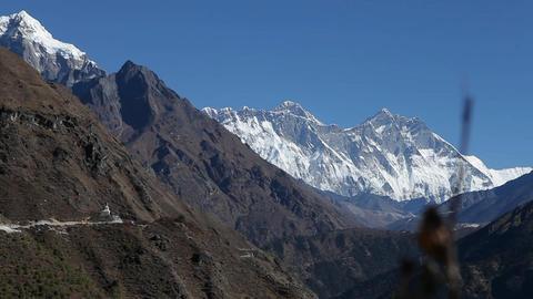 Glide revealing Dingboche stupa, Everest & Lhotse Footage