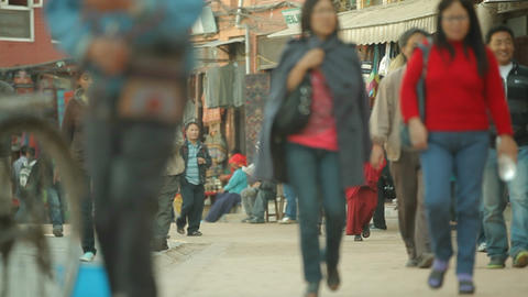 People walking down the streets of Kathmandu Stock Video Footage