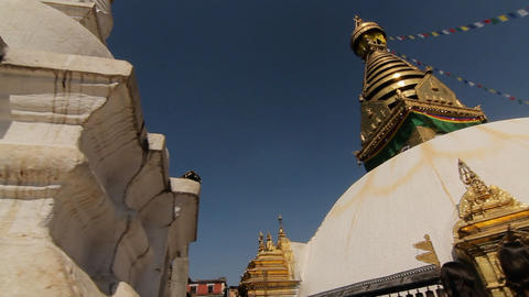 Glide and pan of Swayambhunath temple Stock Video Footage