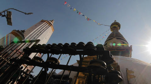 Glide of Swayambhunath temple with sun flare Stock Video Footage