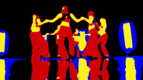 Vector graphic style of attractive group of dancing girls Stock Video Footage