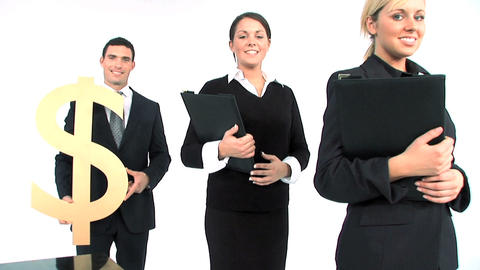 Business team standing in a row, close up of gold dollar... Stock Video Footage