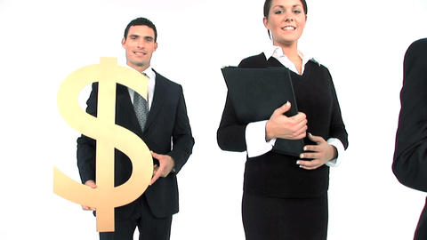 Business team standing in a row, close up of gold dollar symbol Footage