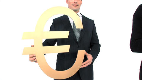 Business team standing in a row, close up of gold euro... Stock Video Footage