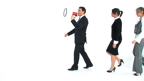 Business team marching with a megaphone Stock Video Footage