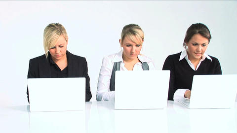 Three women working with computer Stock Video Footage