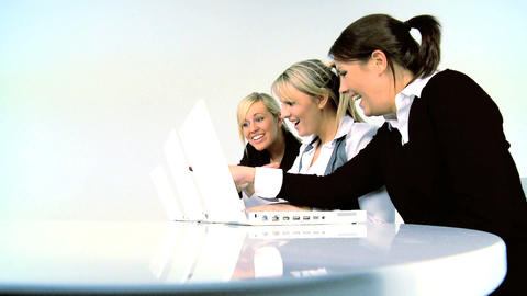 Three businesswomen working with computer Stock Video Footage