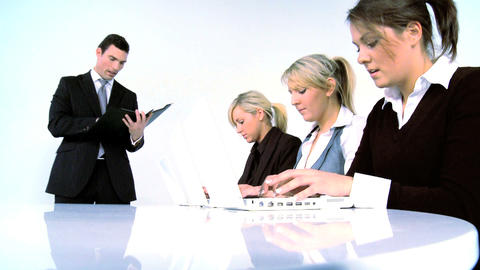 Businessman and his team isolated on white Stock Video Footage